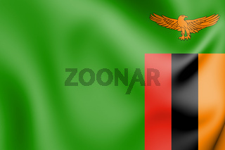 3D Flag of Zambia. 3D Illustration.