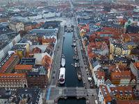 Aerial Drone View of Nyhavn in Copenhagen, Denmark