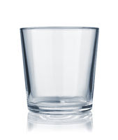 Front view of empty rocks glass