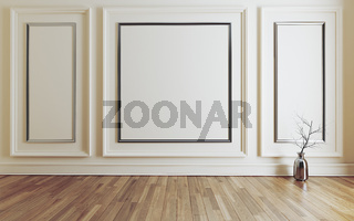 Empty room with Modern classic white wall triple panels and wooden floor 3D rendering