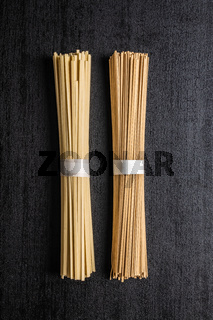 Uncooked soba and udon noodles. Traditional Japanese noodles.