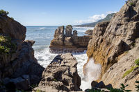 Coastline at Punakaiki Pancake Rocks, New Zealand