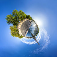 Tiny planet of the Eiffel Tower and riverside of the Seine in Paris