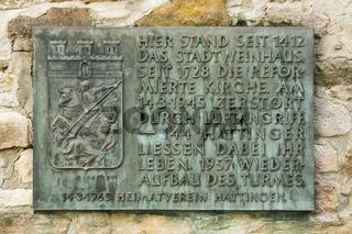 Infotafel am Glockenturm der Johanniskirche in Hattingen, NRW, Deutschland
