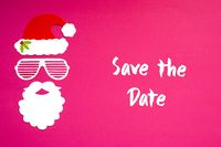 Santa Claus Paper Mask, Pink Background, Text Save The Date