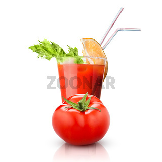 red tomato and glass of juice isolated