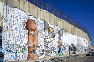 Jerusalem Israel. The west bank separation wall in Bethlehem