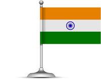 Indian flag standing on white background. Vector illustration