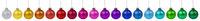 Weihnachten bunte Weihnachtskugeln Kugeln Dekoration in einer Reihe isoliert freigestellt Freisteller