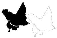 Daugavpils City (Republic of Latvia, Administrative divisions of Latvia, Republican cities) map vector illustration, scribble sketch Daugavpils map