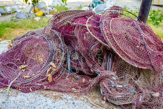Heap of commercial fishing net