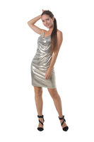 Party girl in silver dress isolated