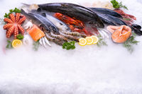 Top view fresh seafood on ice background with copyspae