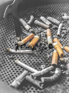 Smoked cigarettes butts
