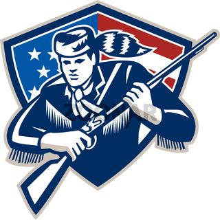 American Frontiersman Patriot Stars Stripes Flag
