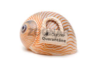 Coronavirus Quarantäne - Schneckenhaus mit Text