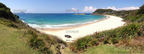 Boat Beach Seal Rocks Panorama NSW Australia