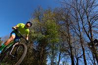 Mountainbiker seen from below