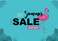 Summer Sale Background with Flamingo and Tropical Leaves