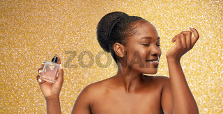 young african american woman with perfume