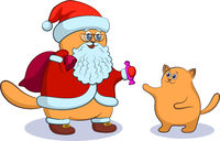 Cat Santa Claus and Kitten
