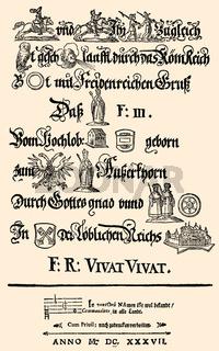 rebus, 1637, the coronation of Ferdinand III, 1608 - 1657, Holy Roman Emperor