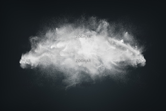 Abstract design of white powder or dust particles cloud explosion and splash with smoke flying over