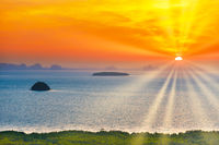 Many small islands landscape on sunset sea