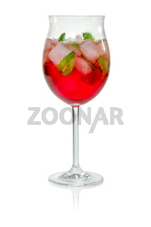 Cocktail with campari and mint