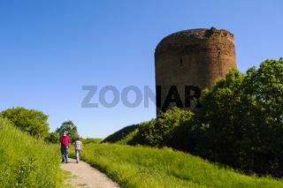 Burgfried der Burg Stolpe an der Oder, Brandenburg, Deutschland