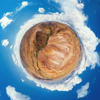 Little planet transformation of spherical panorama 360 degrees of Altai Mars