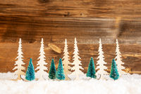 Christmas Tree, Snow, Wooden Background, Copy Space
