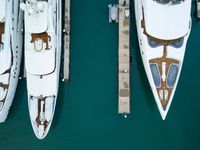 Yachts in marina aerial view
