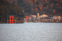 Torii gates of Hakone Shrine at the foot of Mount Hakone along the shores of Lake Ashi. Japan