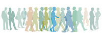 Group of people go together illustration