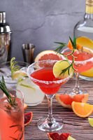 drinks and cocktails with Tequila-based different citrus fruits