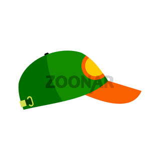 Green baseball hat flat icon