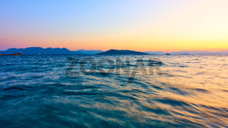 Panoramic view with sea water at sundown