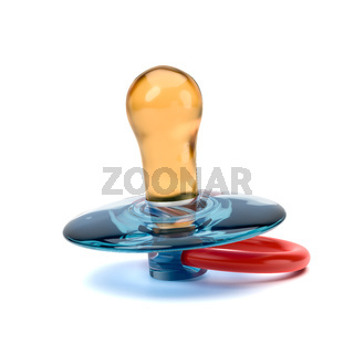 Blue and Red Baby's Pacifier on White Background