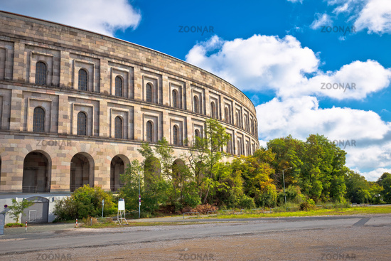Reich Kongresshalle or congress hall and the documentation center on former Nazi party rally grounds in Nuremberg
