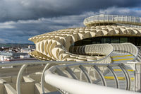 top of the Metropol Parasol landmark structure and view of the city of Seville