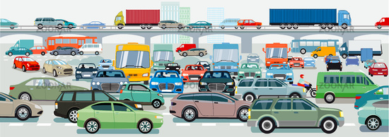 Traffic jam at the road intersection, illustration