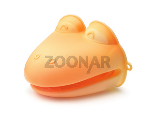 Orange silicone heat resistant cooking mitt