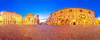Mantova. Piazza Sordello landmarks evening panoramic view in italian town of Mantova