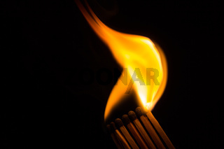 A row of matches being ignited