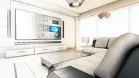 Modern living room half wireframe half standard rendering. 3D illustration