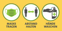 covid-19 coronavirus safety measure and precaution sign in German language