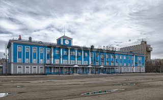 The main blue building of the Murmansk sea terminal.