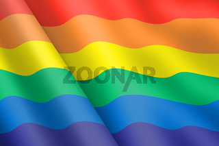 Gay pride rainbow flag 3d illustration wind ripple