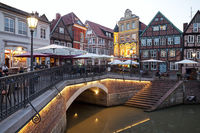 Illuminated Hanseatic port in the evening, old town, Stade, Lower Saxony, Germany, Europe